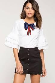 frilly blouse s blouses poplin bow ruffle blouse a gaci
