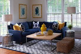 Blue Sofa In Living Room Yellow And Blue Living Room Features Blue Coral Prints In Bamboo