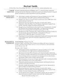 Insurance Sales Resume Examples by Insurance Sales Professional And Manager Resume Sample Vinodomia
