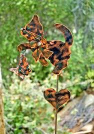 Sheet Metal Garden Art - schnauzer angel dog garden stake pet memorial copper garden
