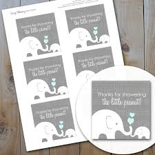elephant baby shower favor tags blue and grey peanut