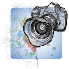 color sketch of a modern digital photo camera stock vector image