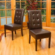 Modern Leather Dining Chairs Tufted Leather Dining Chair Dining Room Contemporary With Brown