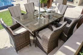paris 6 seater rectangular rattan dining set with ice bucket