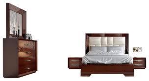 Esf Carmen Walnut Platform Bedroom Set Contemporary Bedroom