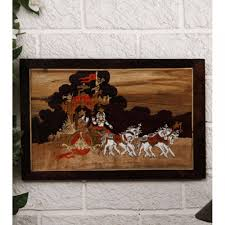 buy unravel india bhagwad gita wooden inlay wall painting