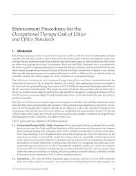 enforcement procedures for the occupational therapy code of ethics