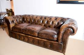 Long Chesterfield Sofa by 1920 U0027s English Upholstered Leather Chesterfield Sofa At 1stdibs