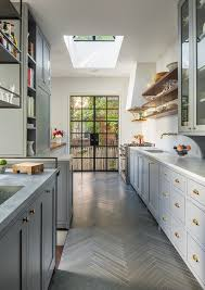 beautiful kitchen remodel with gray herringbone tile light gray