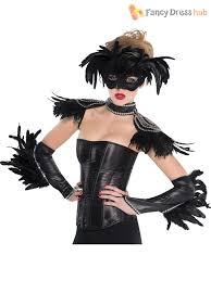ladies black raven queen halloween fancy dress costume