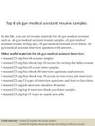 Medical Assistant Resume Templates Top8obgynmedicalassistantresumesamples 150517002514 Lva1 App6892 Thumbnail 4 Jpg Cb U003d1431822364