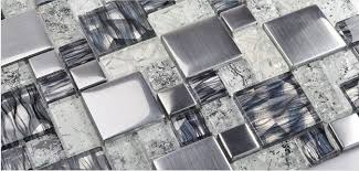 metallic glass mosaic tile backsplash ssmt119 silver stainless