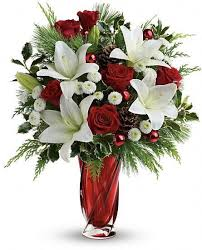 Bouquet Of Lilies Christmassy Memorable Red Rose U0026 White Oriental Lily Bouquet í