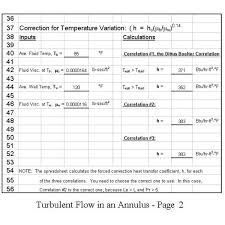 Hvac Load Calculation Spreadsheet by Use Of Excel Spreadsheets To Calculate Forced Convection Heat
