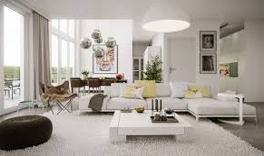 living room white modern upholdstered yellow pillow contemporary