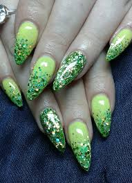 green and silver glitter stripes nail art