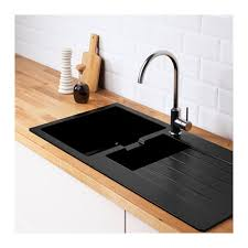 ikea cuisine evier hällviken évier intégré 1 bac av égouttoir noir composite de