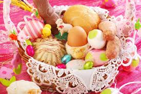 Easter Dinner And Decorations easter basket with traditional polish food and decorations stock