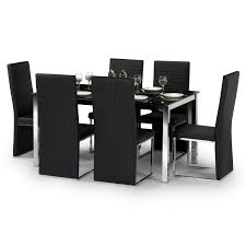 cheap dining table with 6 chairs tempo dining table set w150cm black glass u0026 chrome 6 faux