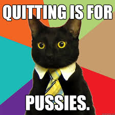 Quitting Meme - quitting is for pussies cat meme cat planet cat planet