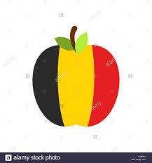 Belgian Flag Apple Belgium Flag Belgian National Fruit Vector Illustration