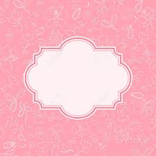 Invitation Card With Photo Pink Invitation Card With Flower And Butterfly Silhouettes On