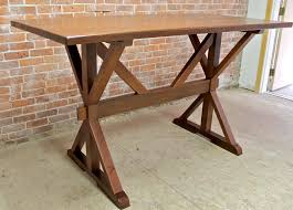 dining tables trestle table bases rustic counter height 42 bar height oak trestle table ecustomfinishes