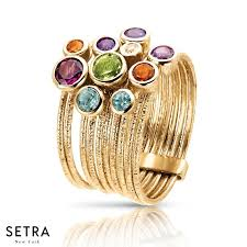 gold hand rings images 14k fine yellow gold mix color gem stones right hand ring designer jpg