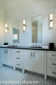 subway tile backsplash groutless pearl shell tile bathroom vanity