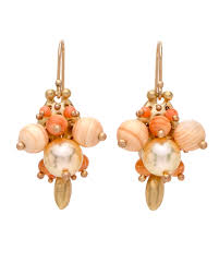 ted muehling earrings ted muehling coral pink pearl and shell bug cluster earrings