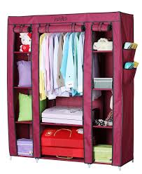Wardrobe Closet Organizer by Yutiriti Fancy Triple Door Large Maroon Portable Multipurpose
