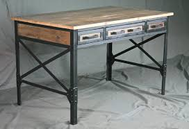 French Industrial Desk Reclaimed Wood Desk With Drawers Industrial Office Desk With