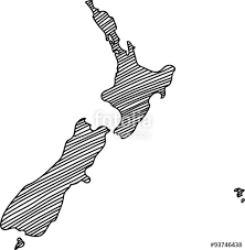 doodle freehand outline sketch of new zealand map vector