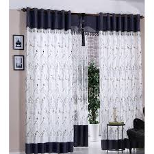 Navy Curtain Navy Blue And White Polyester Embroidered Floral Pattern Bedroom
