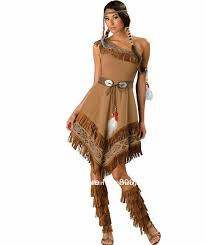 Womens Pocahontas Halloween Costumes Ladies Pocahontas Native American Indian Wild West Fancy Dress