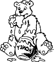 honey bear out of honey colouring page colouring tube