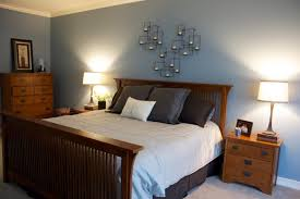 Contemporary Blue Bedroom - grey and blue bedroom ideas single natural wood nightstand table