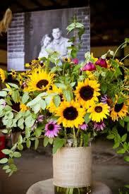 Centerpieces With Sunflowers by Sunflower And Wildflowers Centerpiece Wedding Decor Pinterest