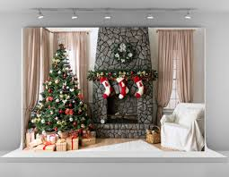 kate 7x5ft christmas tree photography backdrops brick fireplace
