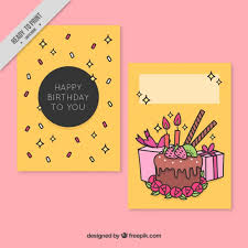 hand drawn birthday card with cake and gifts free vectors ui