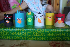 pink and green mama toilet paper tube craft homemade angry birds