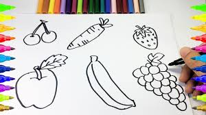 how to drawing and coloring fruits learn draw and colouring