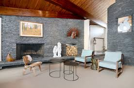 Fireplace Storage by Living Room Mid Century Modern With Fireplace Subway Tile