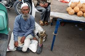 Seeking In Hyderabad Indian Sick And Handicapped Beggar Seeking Help On A Busy Road