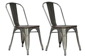 Wood And Metal Dining Chairs Dhp Furniture Fusion Metal Dining Chair With Wood Seat