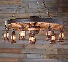 Chandelier Metal Large Wagon Wheel Chandelier With Rustic Lanterns