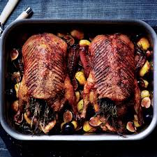 roast ducks with potatoes figs and rosemary recipe epicurious