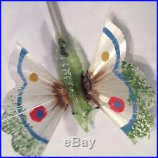 antique vtg green glass butterfly spun glass wings