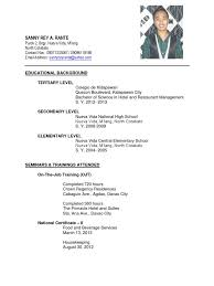 Ojt Sample Resume by Sample Resume For Ojt Food Technology Students Augustais