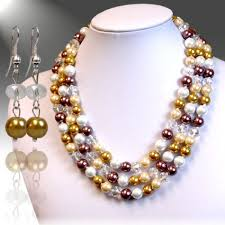 color pearl necklace images Brown multi color pearl necklace set jpg